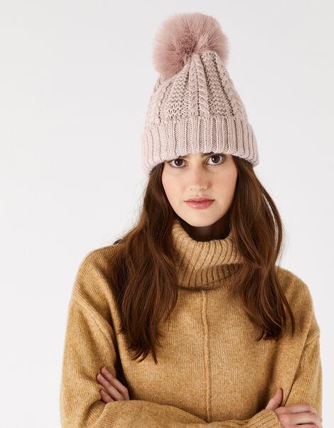 Chunky Knit Pom-Pom Beanie Pink, Pink (PINK), large