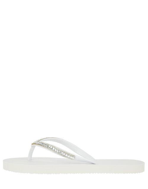 Sparkle EVA Flip Flops, White (WHITE), large