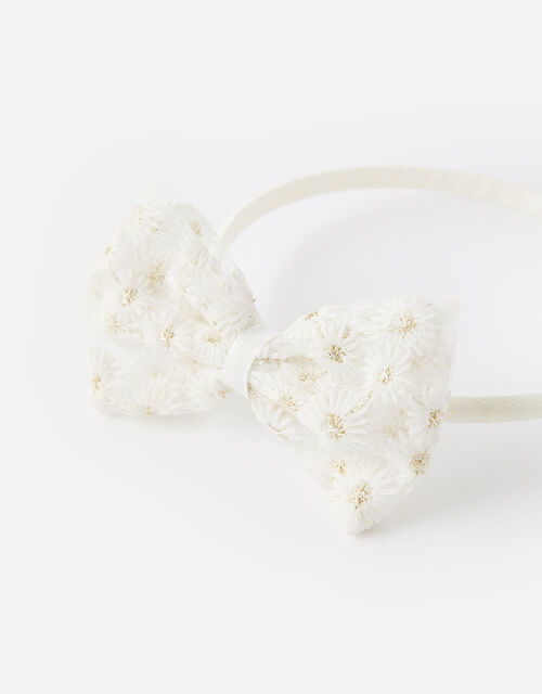 Embroidered Daisy Bow Headband, , large