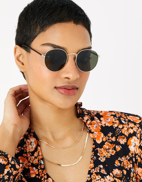 Roxy Round Sunglasses , Gold (GOLD), large