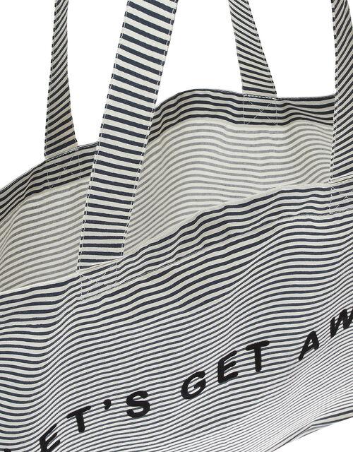 Let's Get Away Slogan Stripe Shopper Bag, , large