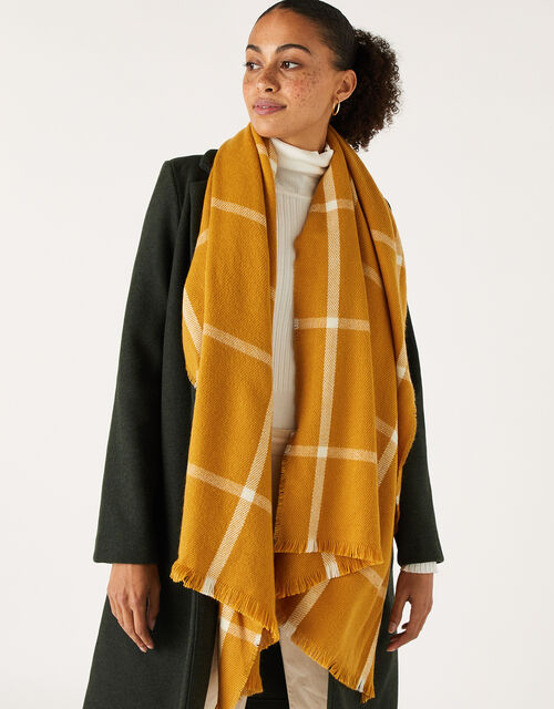 Sunny Windowpane Check Blanket Scarf, , large