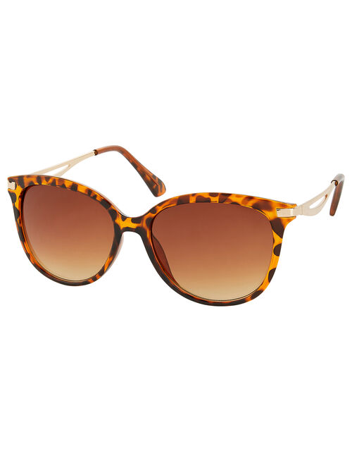 Leopard Print Metal Arm Sunglasses, , large