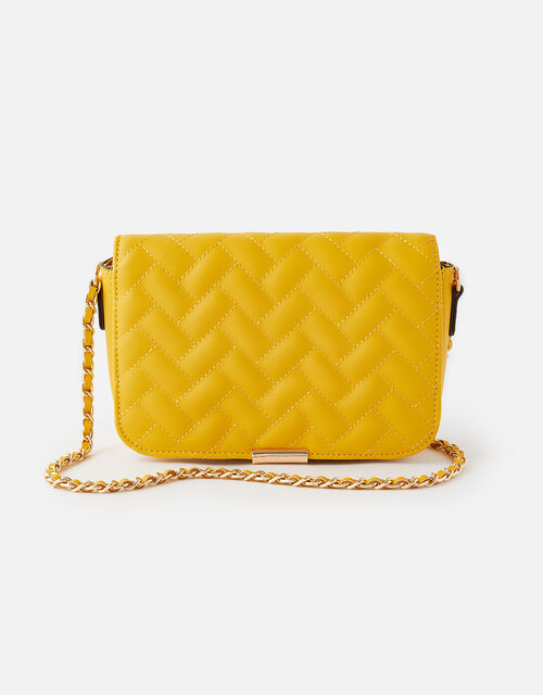 Quinn Quilted Chain Cross-Body Bag , Yellow (YELLOW), large