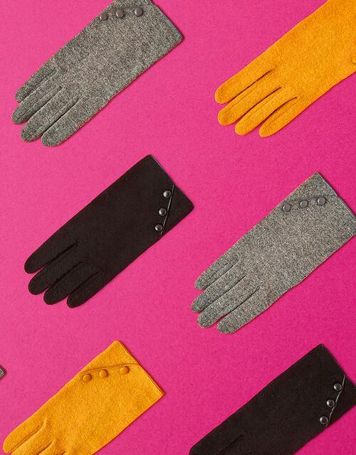 Button Gloves in Wool Blend, Black (BLACK), large