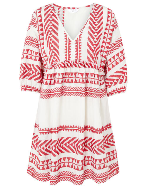Patterned Jacquard Smock Dress in Pure Cotton, Red (RED), large