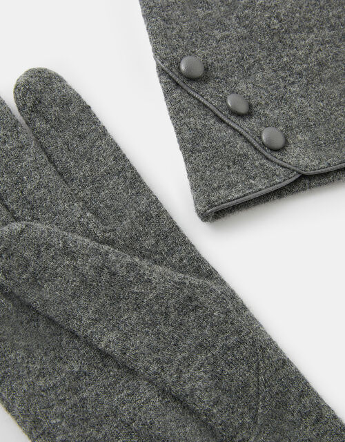 Button Gloves in Pure Wool, Grey (GREY), large