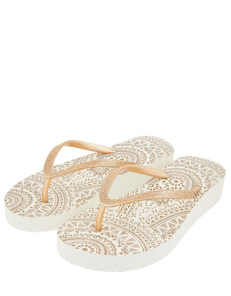 Eva Gold Wedge Flip Flops Gold, Gold (GOLD), large