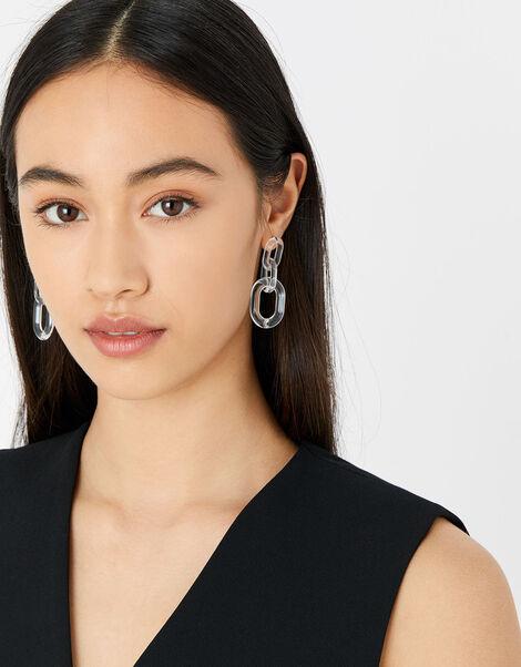Resin Clear Links Earrings, , large