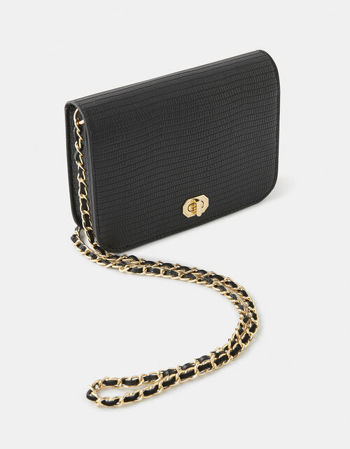 Evie Reptile Cross-Body Bag, Black (BLACK), large