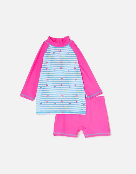 Heart Print Sunsafe Two-Piece Swimsuit Multi, Multi (BRIGHTS-MULTI), large