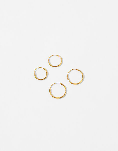 Gold-Plated Mini Sleeper Hoop Earring Set, , large