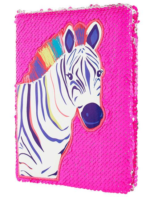 Zoe Zebra Reversible Sequin Notebook, , large