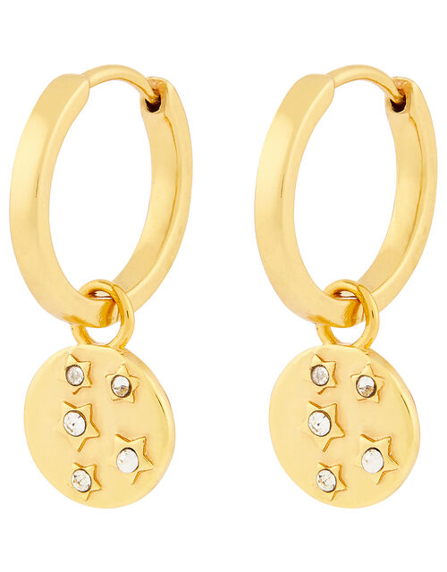 Gold-Plated Celestial Charm Huggie Hoops, , large