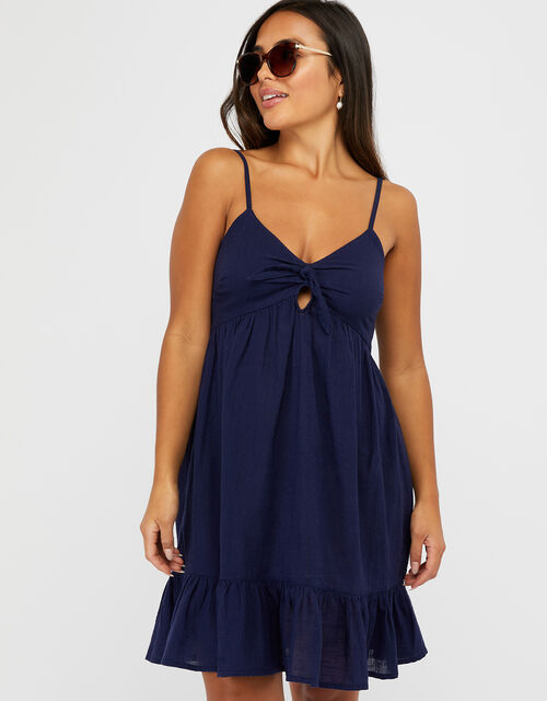 Tie Front Mini Dress, Blue (NAVY), large