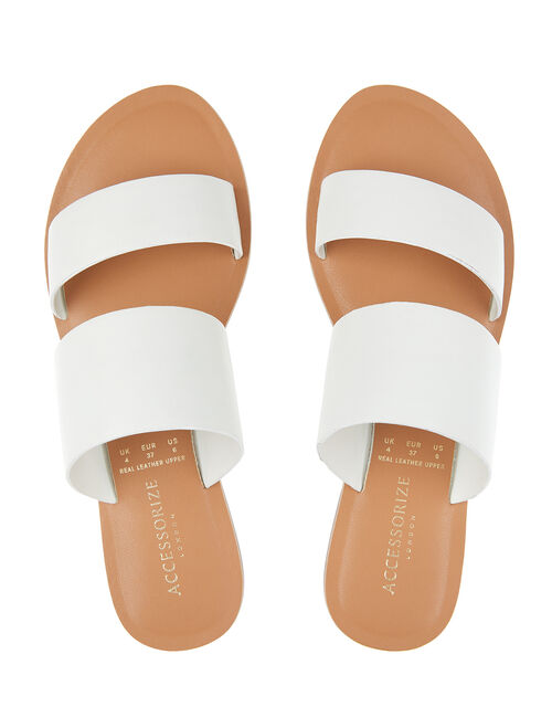 Wide Strap Mule Sandals, White (WHITE), large