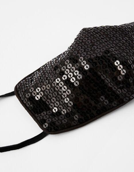 Sequin Sparkle Face Covering Black, Black (BLACK), large