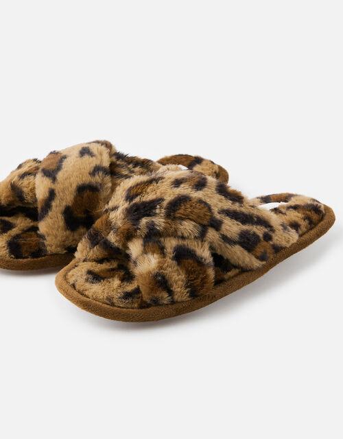 Fluffy Leopard Mule Slippers, Leopard (LEOPARD), large