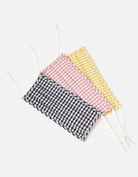 Gingham Anti-Bac Face Covering Multipack, , large