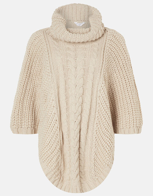 Cable Knit Poncho, Natural (NATURAL), large