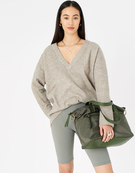 Nadine Nylon Tote Bag Green, Green (KHAKI), large