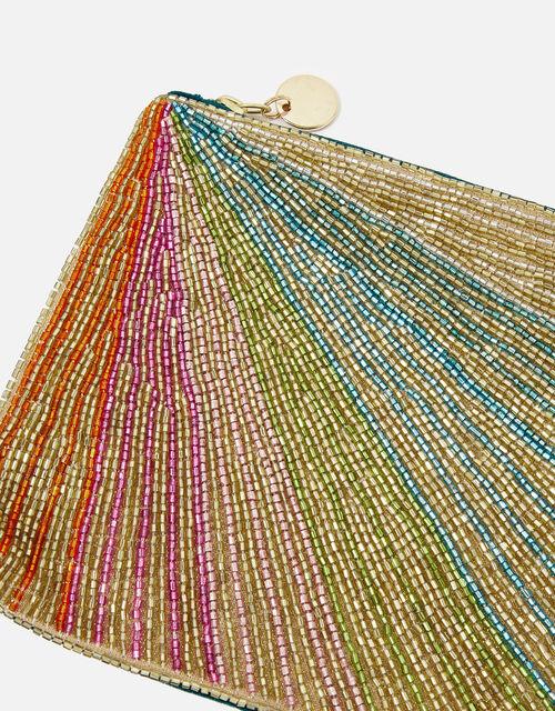 Beaded Rainbow Pouch Bag, , large