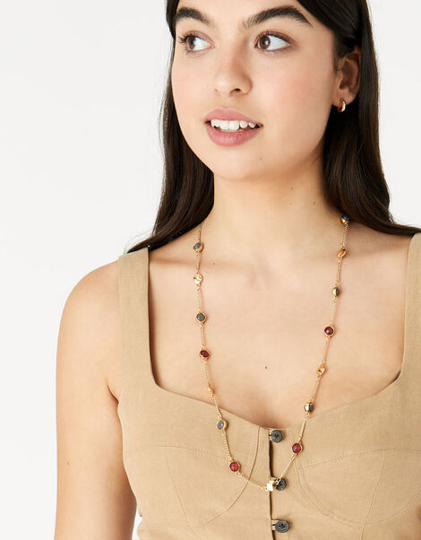 Berry Blush Gem Station Necklace Red, Red (BERRY), large