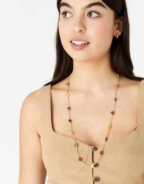 Berry Blush Gem Station Necklace, Red (BERRY), large