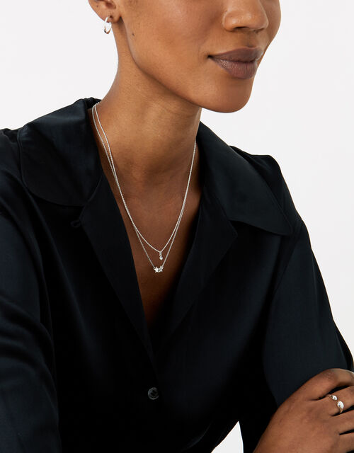 Sterling Silver Crystal Pendant Necklace, , large