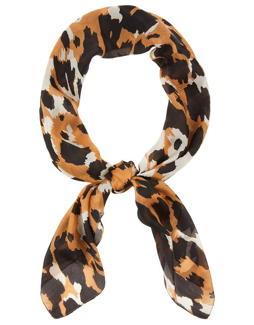 Luxury Leopard Print Scarf in Pure Silk, , large