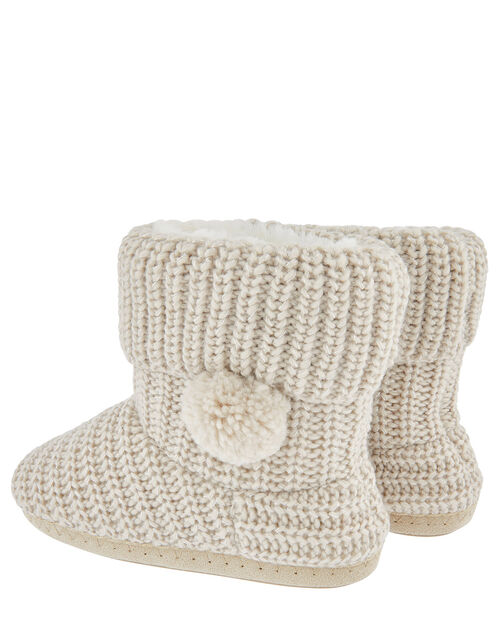 Pom-Pom Shimmer Knit Slipper Boots, Cream (CREAM), large