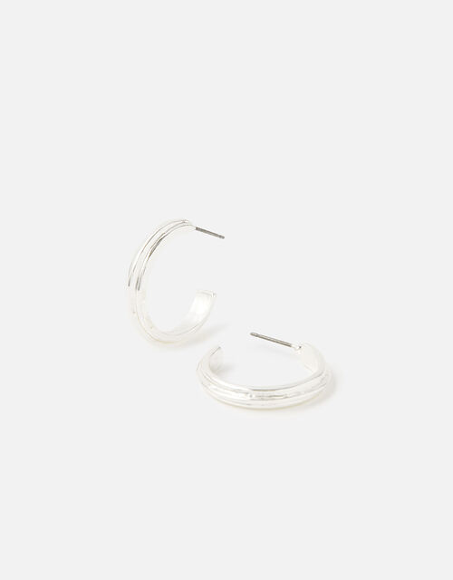 Line Indent Hoops with Recycled Metal, , large