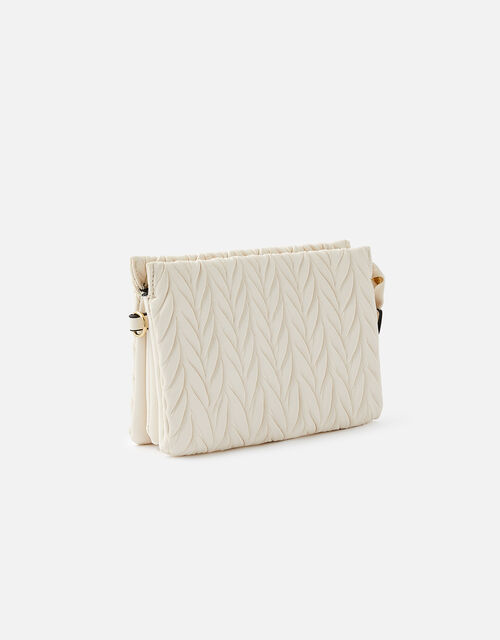 Paige Pleated Cross-Body Bag, Cream (CREAM), large
