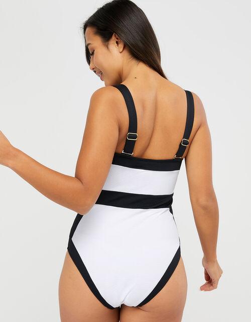 Illusion Textured Shaping Swimsuit, Black (BLACK), large