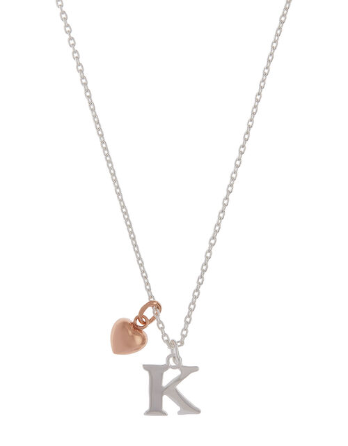Sterling Silver Initial Necklace with Heart Charm - K, , large