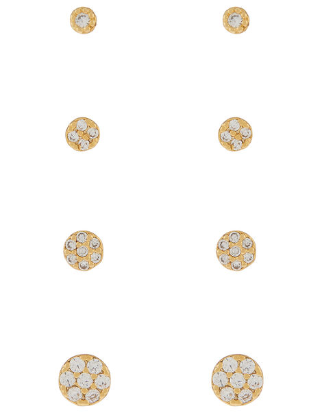 Sparkly Circle Stud Set, , large