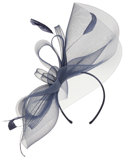 Rhea Oversized Bow Fascinator Headband, Blue (NAVY), large