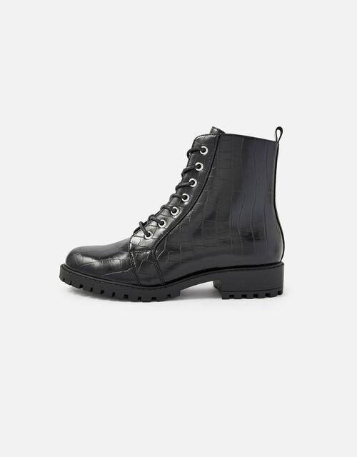 Croc Print Lace-Up Chunky Boots, Black (BLACK), large