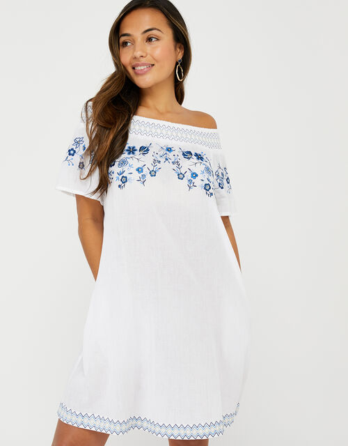 Kaylee Off-Shoulder Embroidered Dress in Pure Cotton, White (WHITE), large