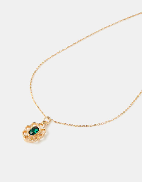 Filigree Emerald Pendant Necklace, , large