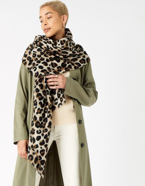 Lucille Leopard Blanket Scarf, , large
