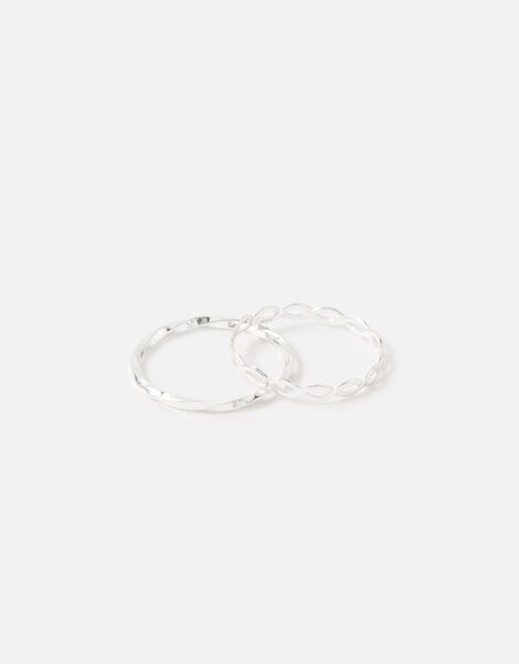 Sterling Silver Link and Twist Ring Twinset Silver, Silver (ST SILVER), large