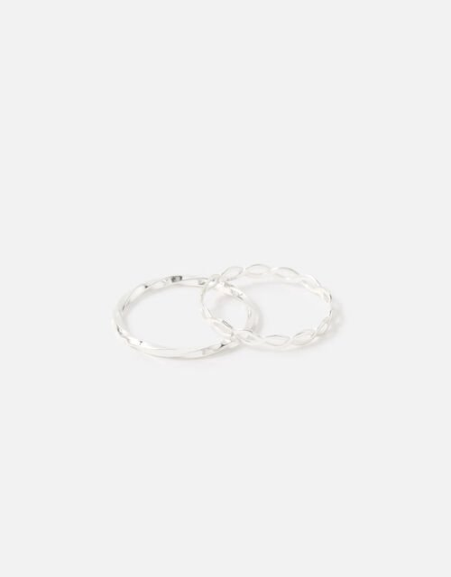 Sterling Silver Link and Twist Ring Twinset, Silver (ST SILVER), large
