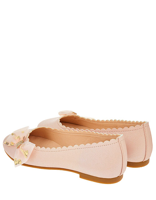 Bow Scalloped Ballerina Shoes, Pink (PINK), large