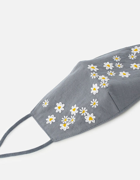 Embroidered Daisy Print Face Covering , , large