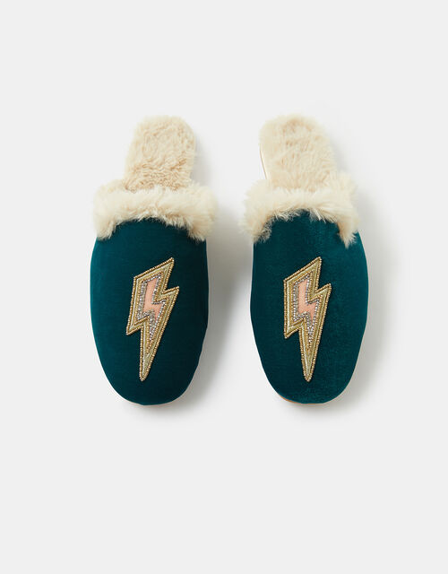 Embellished Lightning Bolt Mule Slippers, Teal (TEAL), large