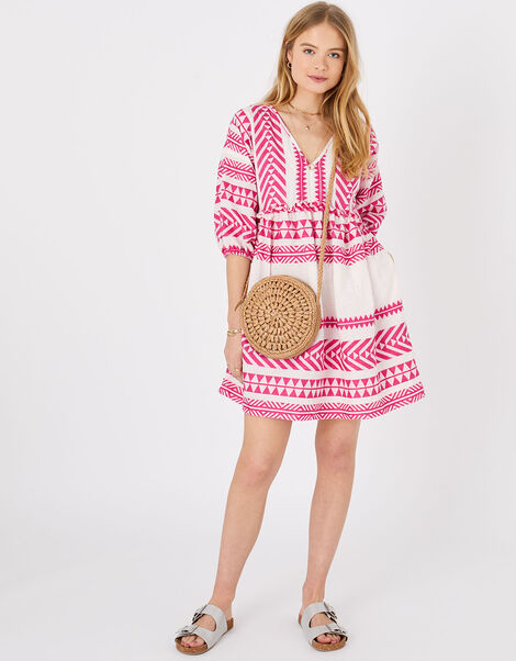 Patterned Jacquard Smock Dress Pink, Pink (PINK), large