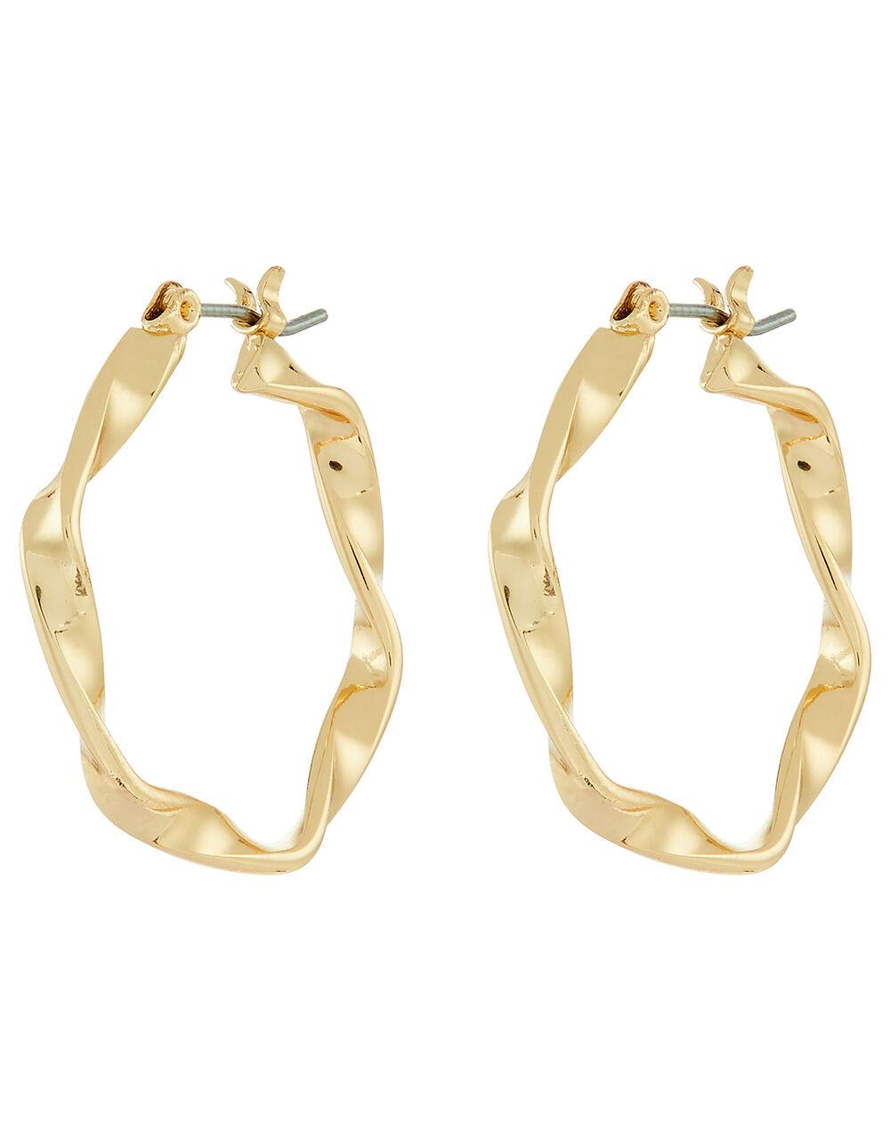 Small Twist Hoop Earrings, Gold (GOLD), large