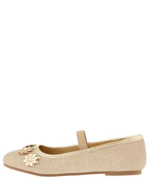 Metallic Floral Ballerina Shoes, Gold (GOLD), large