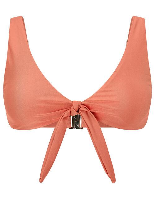Tie Front Bikini Top, Orange (CORAL), large
